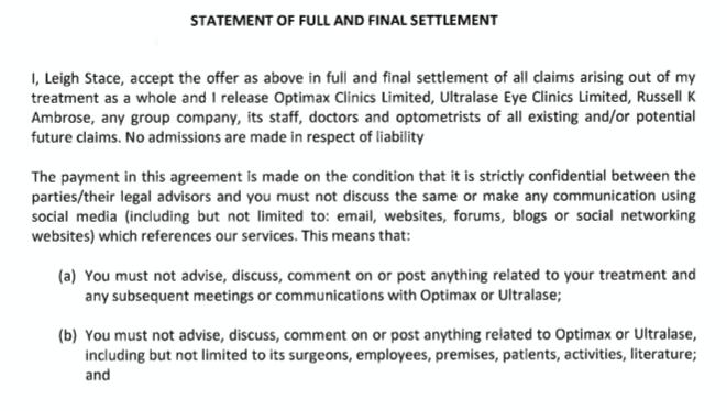 Settlement letter extract